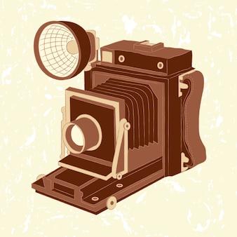 Vector illustration der weinlesefotokamera auf schmutzhintergrund