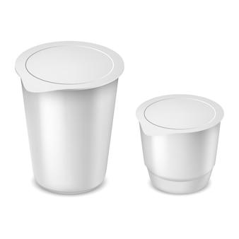 Vector illustration der weißen verpackung für mayonnaise, saure sahne, sauce, sahne, joghurt