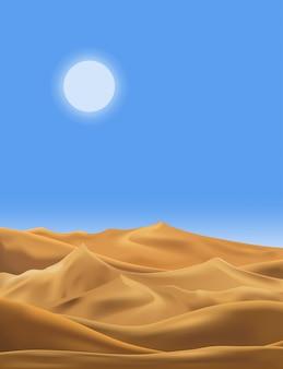 Vector illustration der wüstenpanoramalandschaft mit sanddünen am sehr heißen sommer des sonnigen tages, am leeren sand der unbedeutenden panoramischen karikaturnatur und an der sonne mit sauberem himmel.
