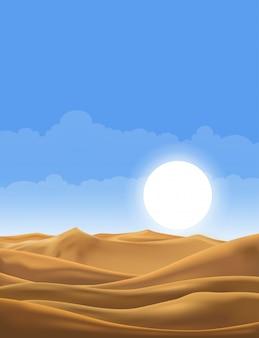 Vector illustration der wüstenpanoramalandschaft mit sanddünen am sehr heißen sommer des sonnigen tages