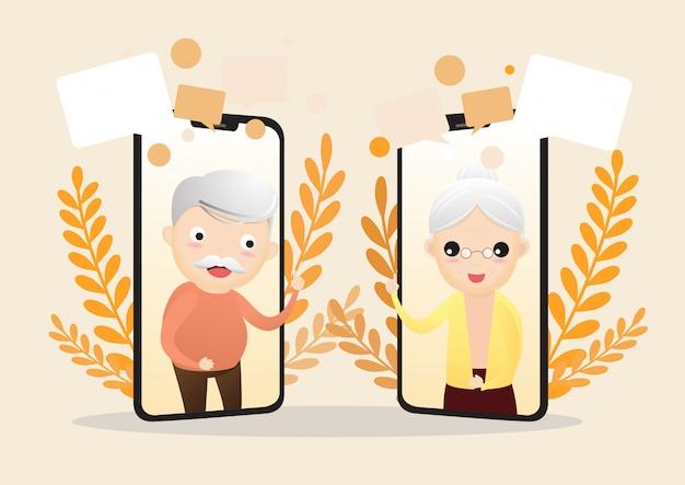 Vector illustration des älteren charakters mit intelligentem telefon. alte gealterte familienpaarmann- u. -frauenkommunikation unter verwendung des intelligenten telefonvideoanrufs. ältere menschen reden.