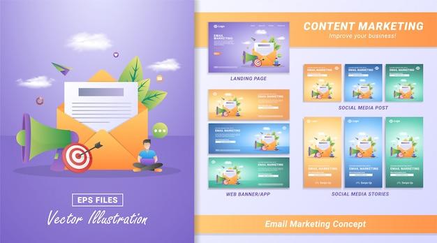 Vector illustration des e-mail-marketings und des mitteilungskonzeptes