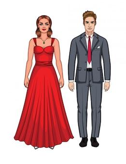 Vector illustration des falles in die liebespaare, die zur party gehen. moderne junge frau im roten langen kleid und im mann im anzug mit roter bindung