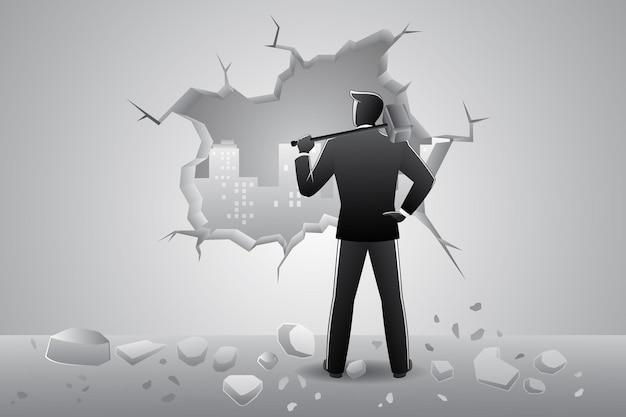 Vector illustration des geschäftskonzeptes, entschlossener geschäftsmann, der wand mit hammer bricht