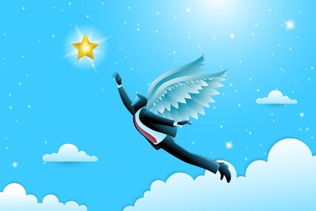 Vector illustration des geschäftskonzeptes, geflügelter geschäftsmann, der fliegt, um goldenen stern zu erreichen