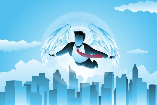Vector illustration des geschäftskonzeptes, geflügelter geschäftsmann, der über stadtbild auf hintergrund des blauen himmels fliegt