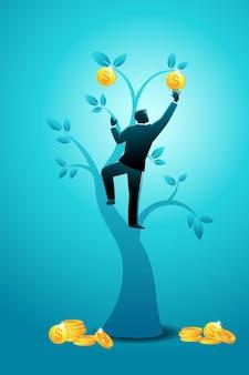 Vector illustration des geschäftskonzeptes, geschäftsmann, der goldmünzenbaum klettert