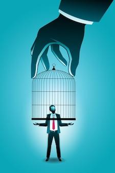 Vector illustration des geschäftskonzeptes, große hand, die kleinunternehmer mit vogelkäfig fängt
