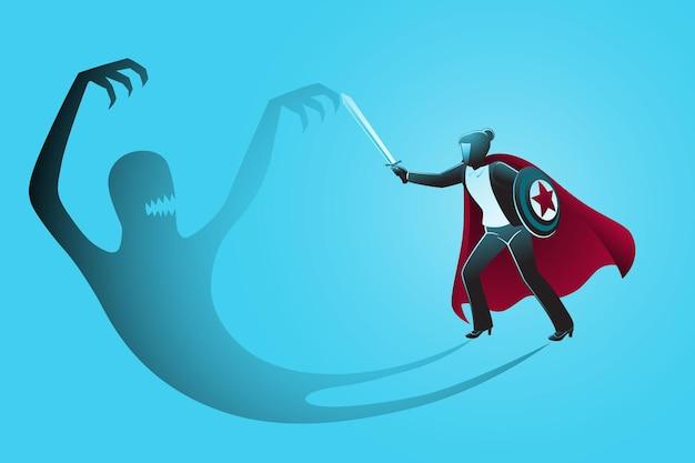 Vector illustration des geschäftskonzepts, geschäftsfrau-superheld mit schwert und schild, der mit seinem eigenen bösen schatten kämpft