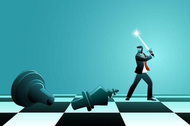 Vector illustration des geschäftskonzepts, geschäftsmann, der schachkönig mit schwert auf schachbrett schneidet