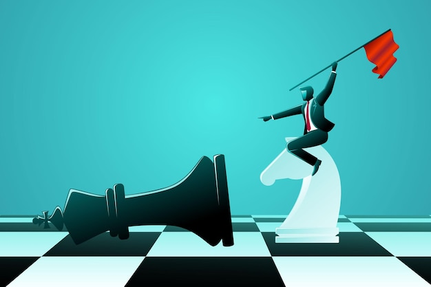 Vector illustration des geschäftskonzepts, geschäftsmann, der schachritter reitet, schlägt schwarzen königschach, während er die flagge hält