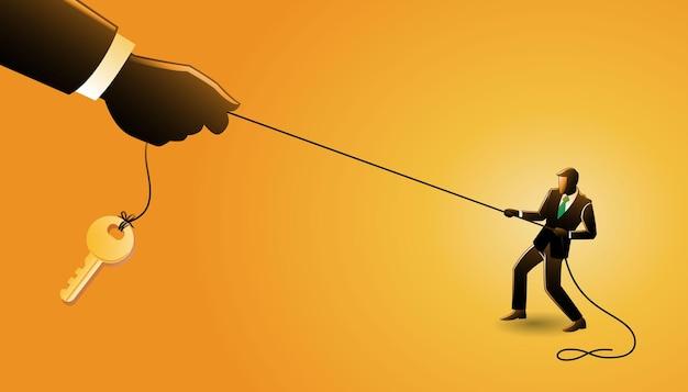 Vector illustration des geschäftskonzepts, geschäftsmann, der seil gegen große hand zieht, um den schlüssel zu bekommen