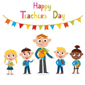 Vector illustration des glücklichen mannlehrers mit blumen und schülern im cartoon-stil, isoliert auf weiss. glückliche tageskarte des lehrers.