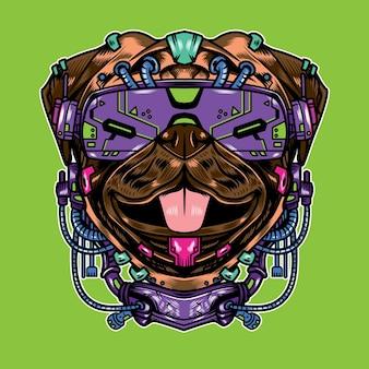 Vector illustration des mopshundes mit coolem futuristischem cyberpunk-cartoon-stil in isoliertem hintergrund