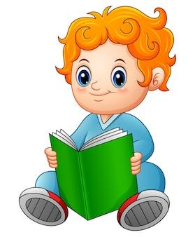 Vector illustration des netten schülers ein buch lesend