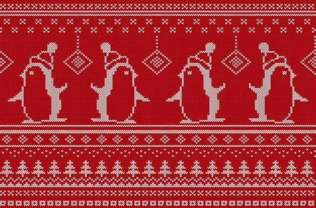 Vector illustration des rot und weiß farbigen gestrickten musters mit pinguinen.