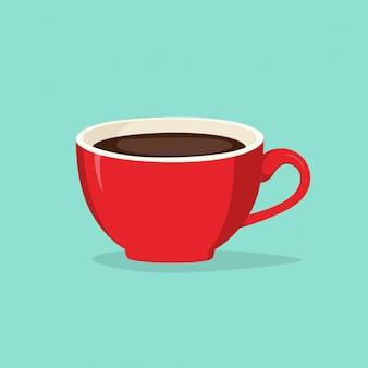 Vector illustration des roten tasse kaffees auf dem blau
