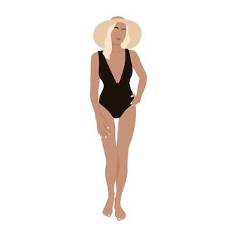 Vector illustration des sommerschönheitsmädchens flache illustration der mode mit frau in einem badeanzug