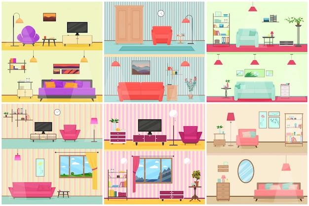 Vector illustration des verschiedenen flachen karikaturinnenraums des wohnzimmers.