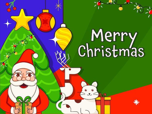 Vector illustration des weihnachtsmannes, der geschenkbox mit karikaturkatze, rentier und dekorativem weihnachtsbaum auf buntem hintergrund für frohe weihnachten hält.
