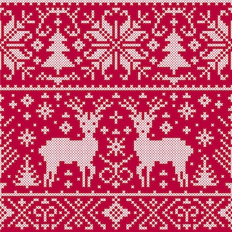 Vector illustration des weihnachtsnahtlosen musters mit rotwild, bäumen und schneeflocken