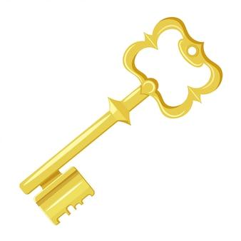 Vector illustration des weinlesegoldschlüssels auf einem weißen hintergrund. cartoon-stil. retro objekt für ihr design. vektor auf lager