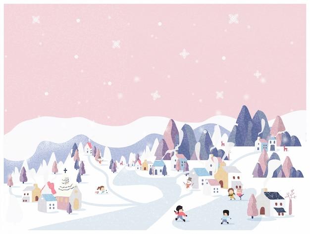 Vector illustration des wintermärchenlands im rosa pastellhintergrund.