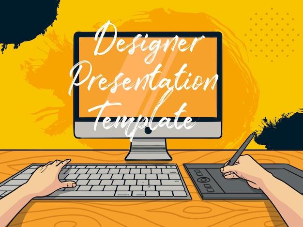 Vector illustration designer splatter-präsentationsvorlage zeichnung auf computer-pc mit stifttablett handgezeichneten cartoon-färbungsstil
