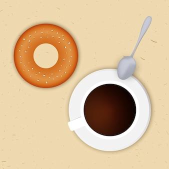 Vector illustration einer tasse kaffee und donuts. sicht von oben. mittagessen.