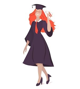 Vector illustration eines absolventenmädchens in einem kleid mit einem diplom zeigt erfolg, freude, leistung, lokalisiert auf einem weißen hintergrund.