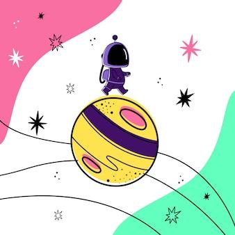 Vector illustration eines astronauten, der auf einen planeten im raum geht.