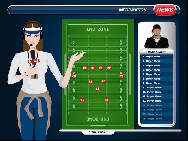 Vector illustration eines fernsehsportreporters bei der arbeit. fußballspielfeld mit strategieelementen.