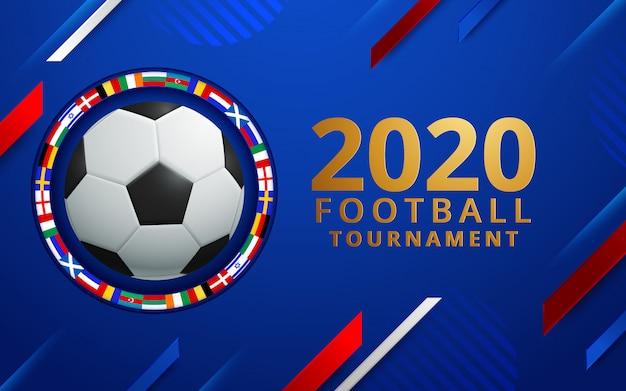 Vector illustration eines fußballcups 2020. eines stilvollen hintergrundes für die fußballmeisterschaft