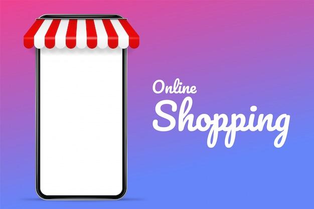 Vector illustration eines handys mit einem dach. das konzept des online-shoppings und des online-verkaufs von produkten.