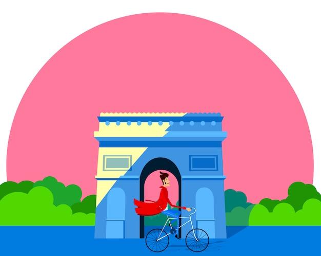 Vector illustration eines mannes auf einem fahrrad vor dem arc de triomphe. grußkarte flaches design