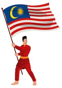 Vector illustration eines mannes in malaiischer tracht, der die flagge malaysias hält