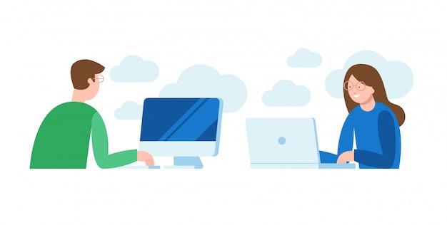 Vector illustration eines mannes und der frau, die vor dem computer sitzen und an einem projekt arbeiten und suchen und plaudern.