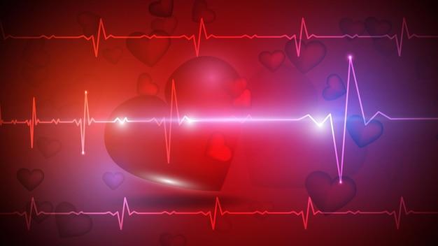 Vector illustration eines menschlichen herzens auf dem hintergrund einer glühenden herzfrequenzgraphik. medizin, gesundheit, herzfrequenz, gesunder lebensstil. eps 10.