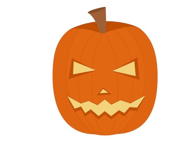 Vector illustration eines orangefarbenen kürbises mit geschnitzten augen und scharfen zähnen für halloween