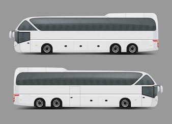 Vector Illustration eines weißen Busses in einem realistischen Stil
