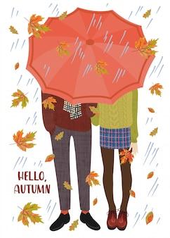 Vector illustration einiger jugendlicher unter dem regenschirm und dem fallenden herbstlaub