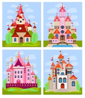 Vector illustration für kinder mit feenhaftem schloss und landschaft
