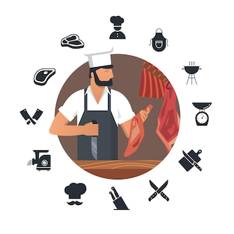 Vector illustration für metzgerei mit bärtigen metzgern bei der arbeit plus satz flache ikonen.