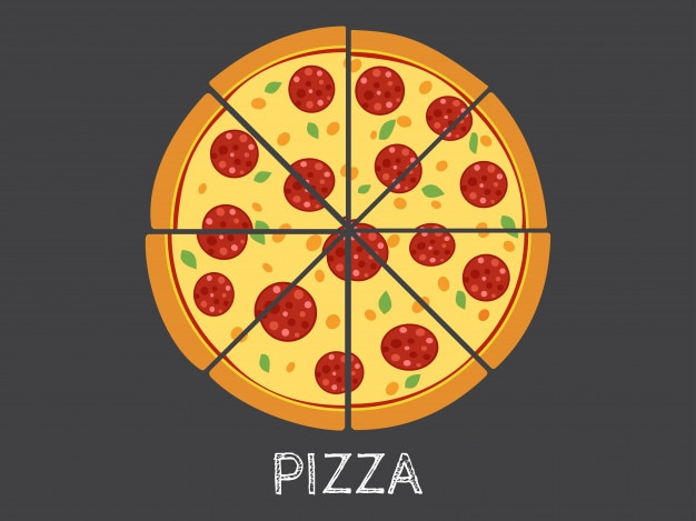 Vector illustration ganze und scheibe pizza