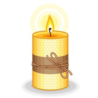 Vector illustration gelbe kerze handgemacht aus bienenwachs. brennende bienenwachskerzen