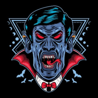 Vector illustration halloween dracula vampir mit vintage retro-cartoon-stil in schwarzem hintergrund