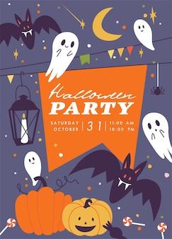 Vector illustration halloween party poster oder einladung herbst feier flyer horror halloween ...