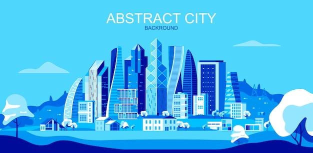 Vector illustration in der einfachen flachen art - stadtlandschaft mit wolkenkratzern