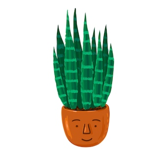 Vector illustration mit aloe-pflanze im lustigen keramiktopf grüne aloe-vera-pflanze im blumentopf