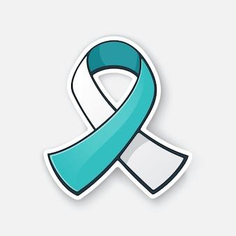 Vector illustration ribbon teal und weiße farbe internationales symbol für das bewusstsein für gebärmutterhalskrebs